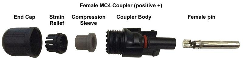 conector mc4 hembra y todos sus componentes