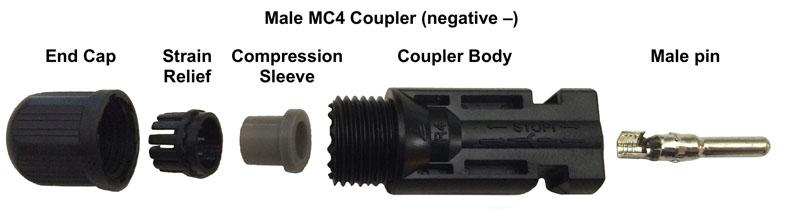 conector mc4 macho y todos sus componentes